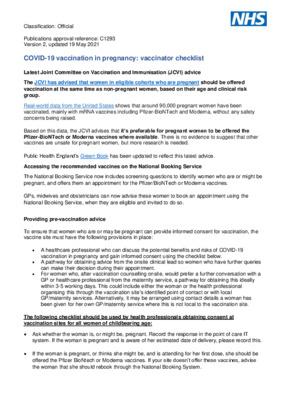 COVID-19 vaccination in pregnancy: vaccinator checklist – updated