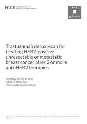 Trastuzumab deruxtecan recommended within CDF for breast cancer