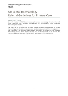 Haematology referral guidelines for primary care
