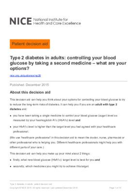 Type 2 diabetes – NICE patient decision aid