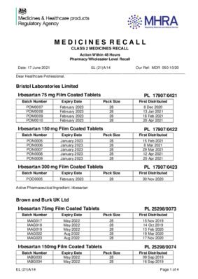 Class 2 Medicines Recall: Bristol Laboratories Limited, Brown & Burk UK Ltd, Teva UK Ltd, Irbesartan-containing and Losartan-containing products