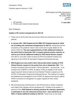 Update to GP contract arrangements for 2021/22