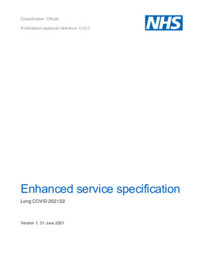 Enhanced service specification: Long COVID 2021/22