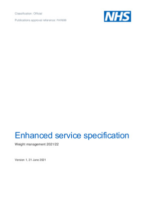 Enhanced service specification: Weight management 2021/22