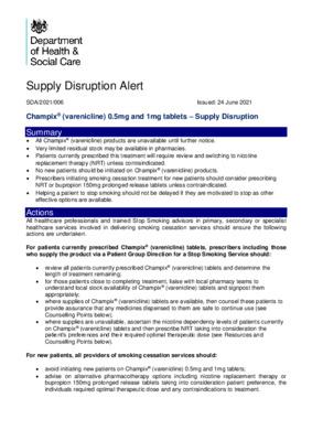 Supply Disruption Alert: Champix (varenicline) 0.5mg and 1mg tablets