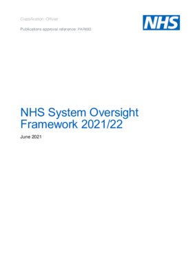 NHS System Oversight Framework 2021/22