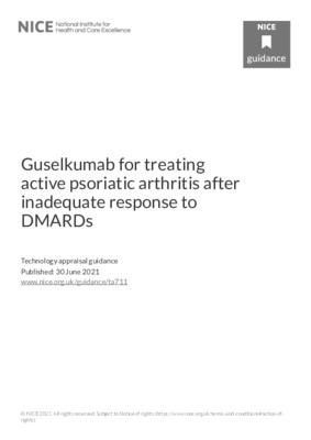 Guselkumab recommended for active psoriatic arthritis after inadequate response to DMARDs