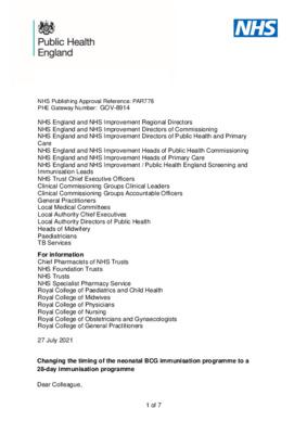 BCG immunisation programme: changes from September 2021
