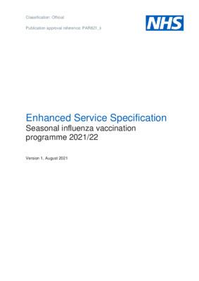 Enhanced Service Specification: Seasonal influenza vaccination programme 2021/22