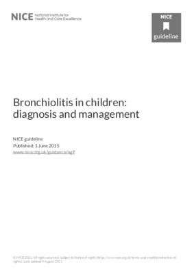 Bronchiolitis in children: diagnosis and management – August 2021 update