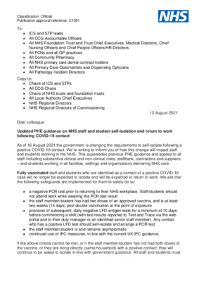 Updated PHE guidance on NHS staff and student self-isolation and return to work following COVID-19 contact