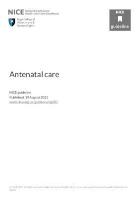 NICE guideline: antenatal care