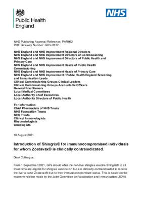 Shingles immunisation programme: introduction of Shingrix®