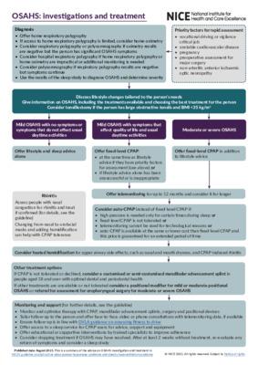 OSAHS: investigations and treatment