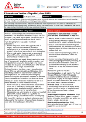 National Patient Safety Alert: Elimination of bottles of liquefied phenol 80%