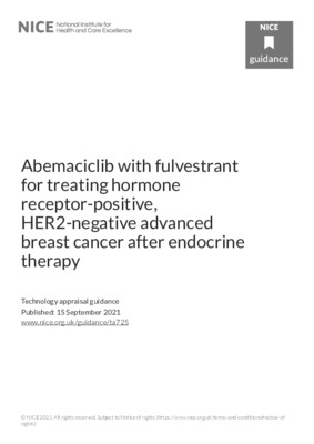 Abemaciclib with fulvestrant recommended for treating hormone receptor-positive, HER2-negative advanced breast cancer after endocrine therapy