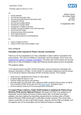 Immediate action required for Phase 3 booster vaccinations