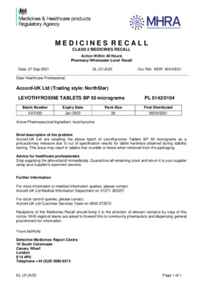 Class 2 Medicines Recall: Accord-UK Ltd (Trading style: NorthStar), LEVOTHYROXINE TABLETS BP 50 micrograms