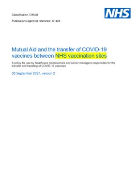 Mutual aid and the transfer of COVID-19 vaccines between NHS vaccination sites [v2]