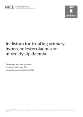 Inclisiran recommended for hypercholesterolaemia or mixed dyslipidaemia in adults