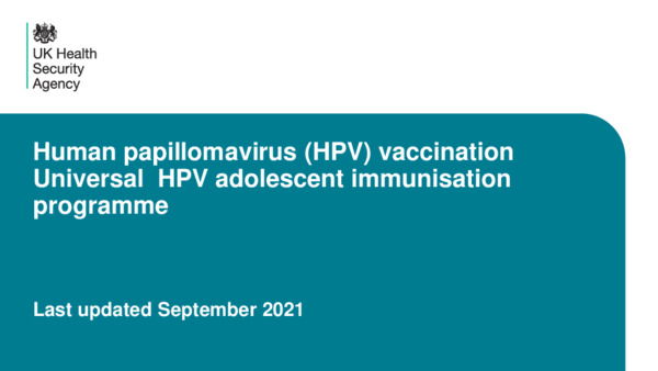 Training slides: HPV vaccination programme