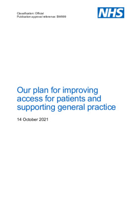 Plan for improving access for patients and supporting general practice
