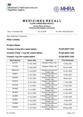 Class 2 Medicines Recall: Pfizer Ltd, Champix (all strengths) film-coated tablets