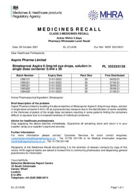 Class 3 Medicines Recall: Bimatoprost Aspire 0.3mg/ml eye drops, solution in single-dose container, Aspire Pharma Limited