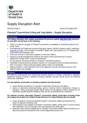 Supply Disruption Alert: Champix® (varenicline) 0.5mg and 1mg tablets