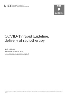 COVID-19 rapid guideline: delivery of radiotherapy