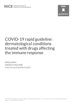 COVID-19 rapid guideline: dermatological conditions treated with drugs affecting the immune response
