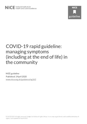 COVID-19 rapid guideline: managing symptoms (including at the end of life) in the community
