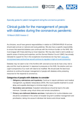 Clinical guide for the management of people with diabetes during the coronavirus pandemic