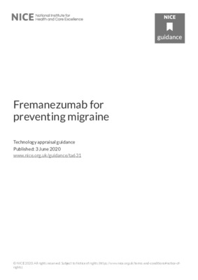 NICE: fremanezumab recommended for migraine prevention