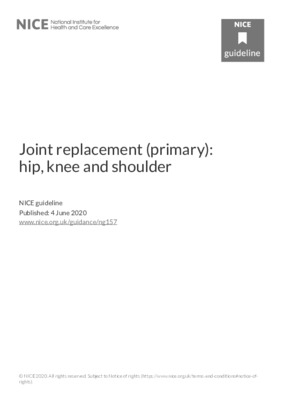 Joint replacement (primary): hip, knee and shoulder