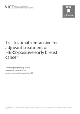 Trastuzumab emtansine recommended for adjuvant treatment of HER2-positive early breast cancer