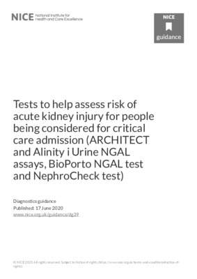 NICE does not recommend tests to help assess risk of acute kidney injury for people being considered for critical care admission