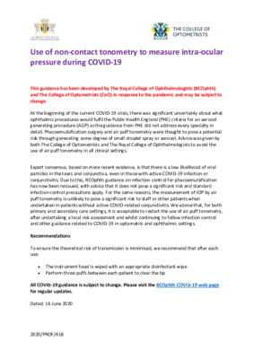 Updated guidance: use of non-contact tonometry to measure intra-ocular pressure