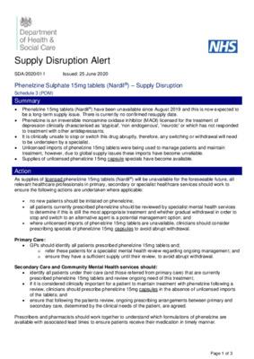 Supply disruption alert - Phenelzine Sulphate 15mg tablets (Nardil®)