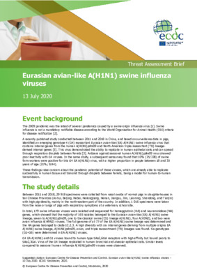 ECDC Threat Assessment Brief: Eurasian avian-like A(H1N1) swine influenza viruses