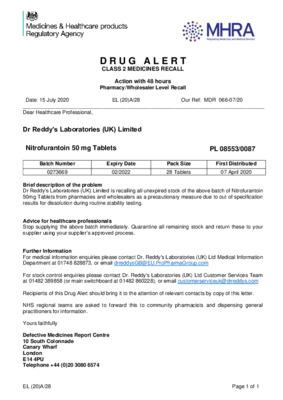 Class 2 Drug Alert: Nitrofurantoin 50mg Tablets