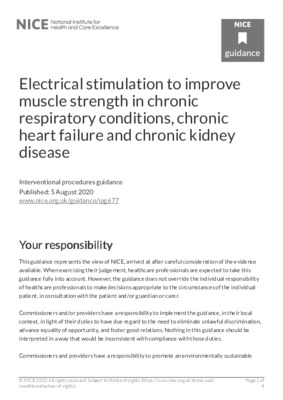 Electrical stimulation recommended to improve muscle strength in chronic respiratory conditions, chronic heart failure and chronic kidney disease