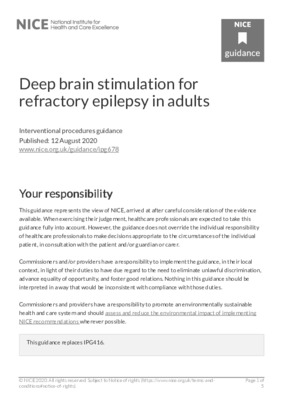 Deep brain stimulation for refractory epilepsy in adults recommended for research and special arrangements