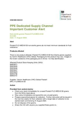 Flosteril FLO-MED-8130 non-sterile gowns do not meet minimum standards for fluid resistance