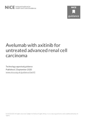 Avelumab with axitinib recommended for untreated advanced renal cell carcinoma