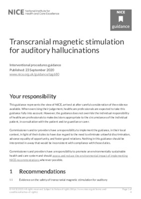 Transcranial magnetic stimulation for auditory hallucinations