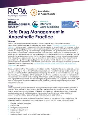 Safe Drug Management in Anaesthetic Practice guidance published