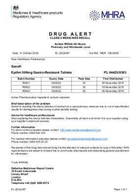 Class 2 Medicines Recall: Sanofi Epilim 500mg Gastro-Resistant Tablets EL