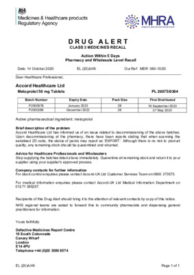 Class 3 Medicines Recall: Metoprolol 50 mg Tablets
