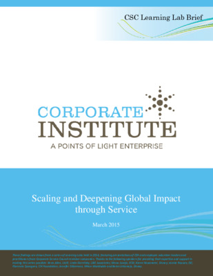 Scaling and Deepening Global Impact Through Service